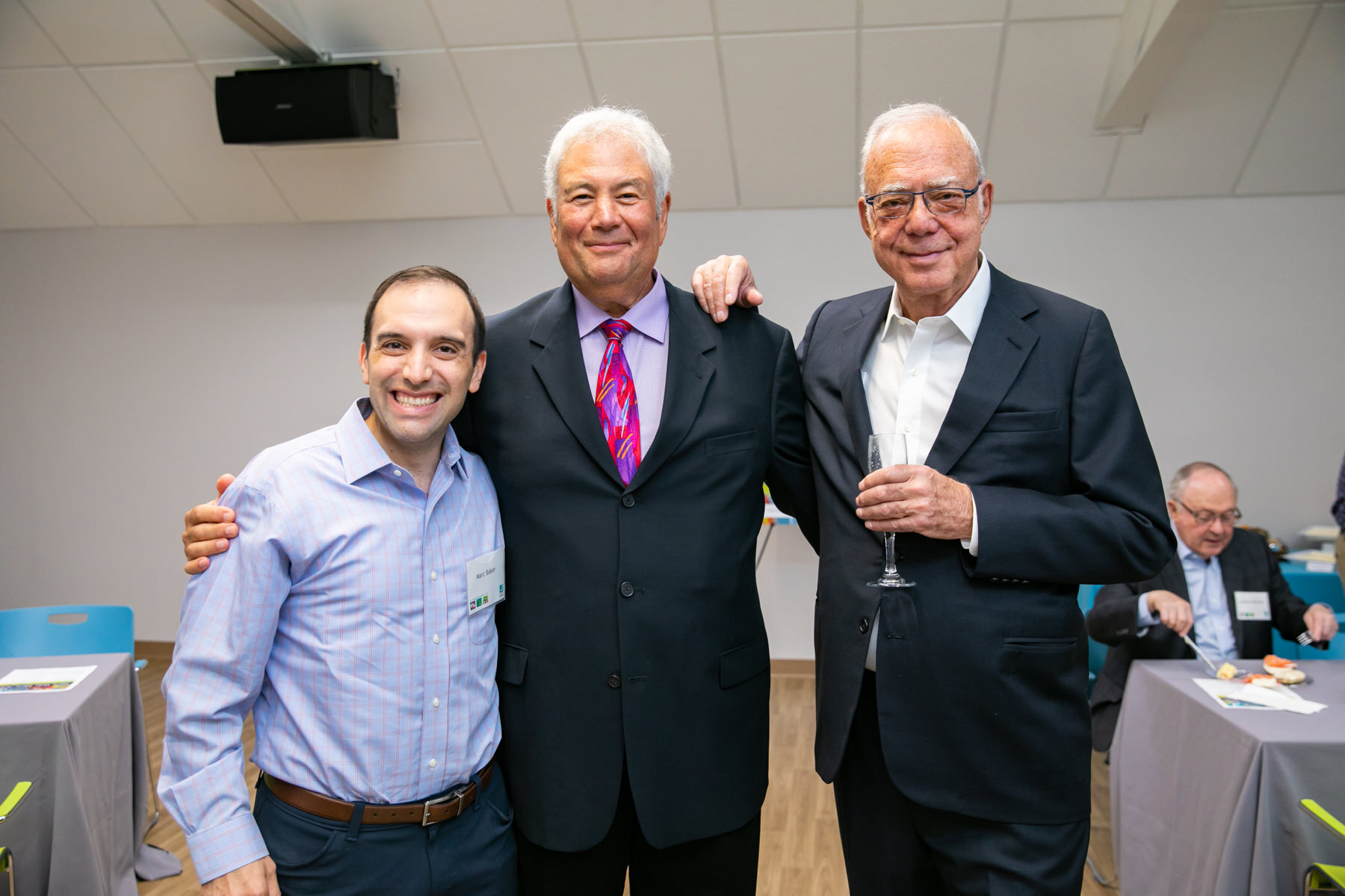 Pictured with Combined Jewish Philanthropies President and CEO  Rabbi Marc Baker  and JCC Greater Boston President and CEO  Mark Sokoll  at the opening of The Winn Family & Wellness Center