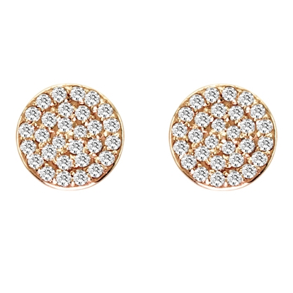 Maya J New York Rose Gold Pave Diamond Studs