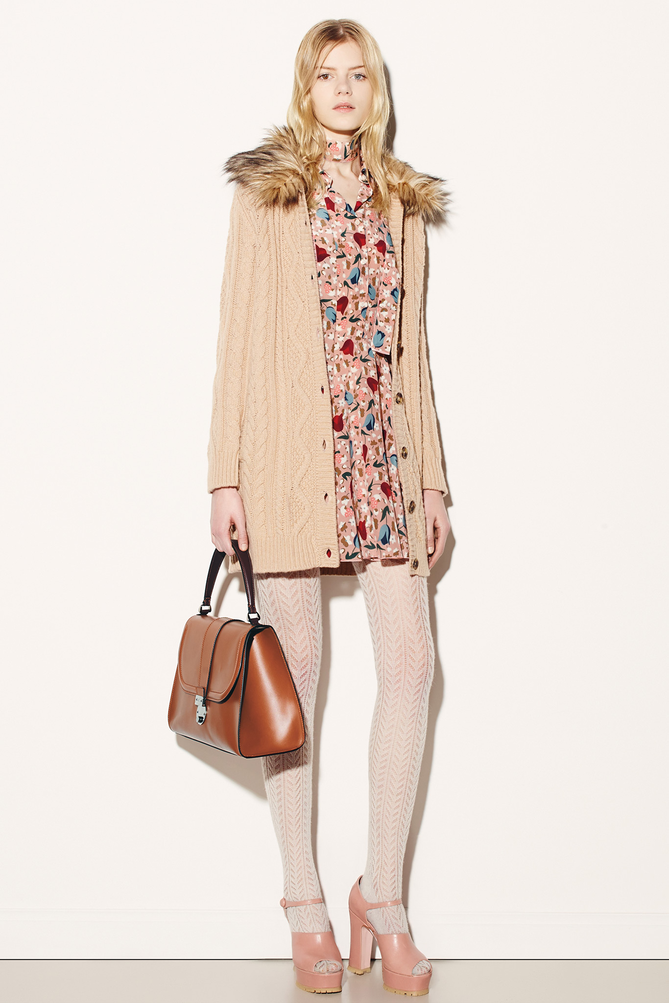 Red Valentino Fur Trimmed Cardigan Fall 2015