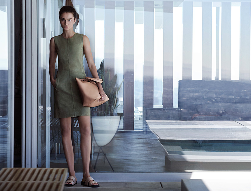 Suede dress in moss green available at Mercantile