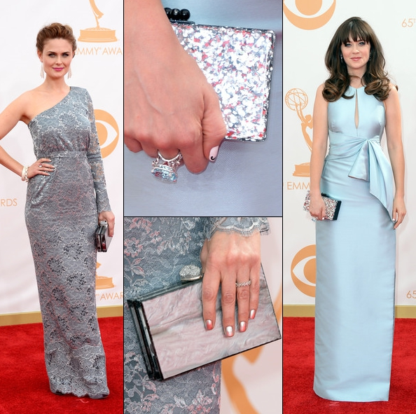 Zooey and Emily Deschanel Wearing Ashlyn'd Clutches