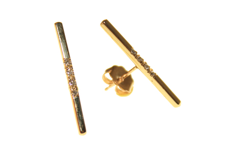 Loren Stewart Long Bar Earrings with 4 Diamonds