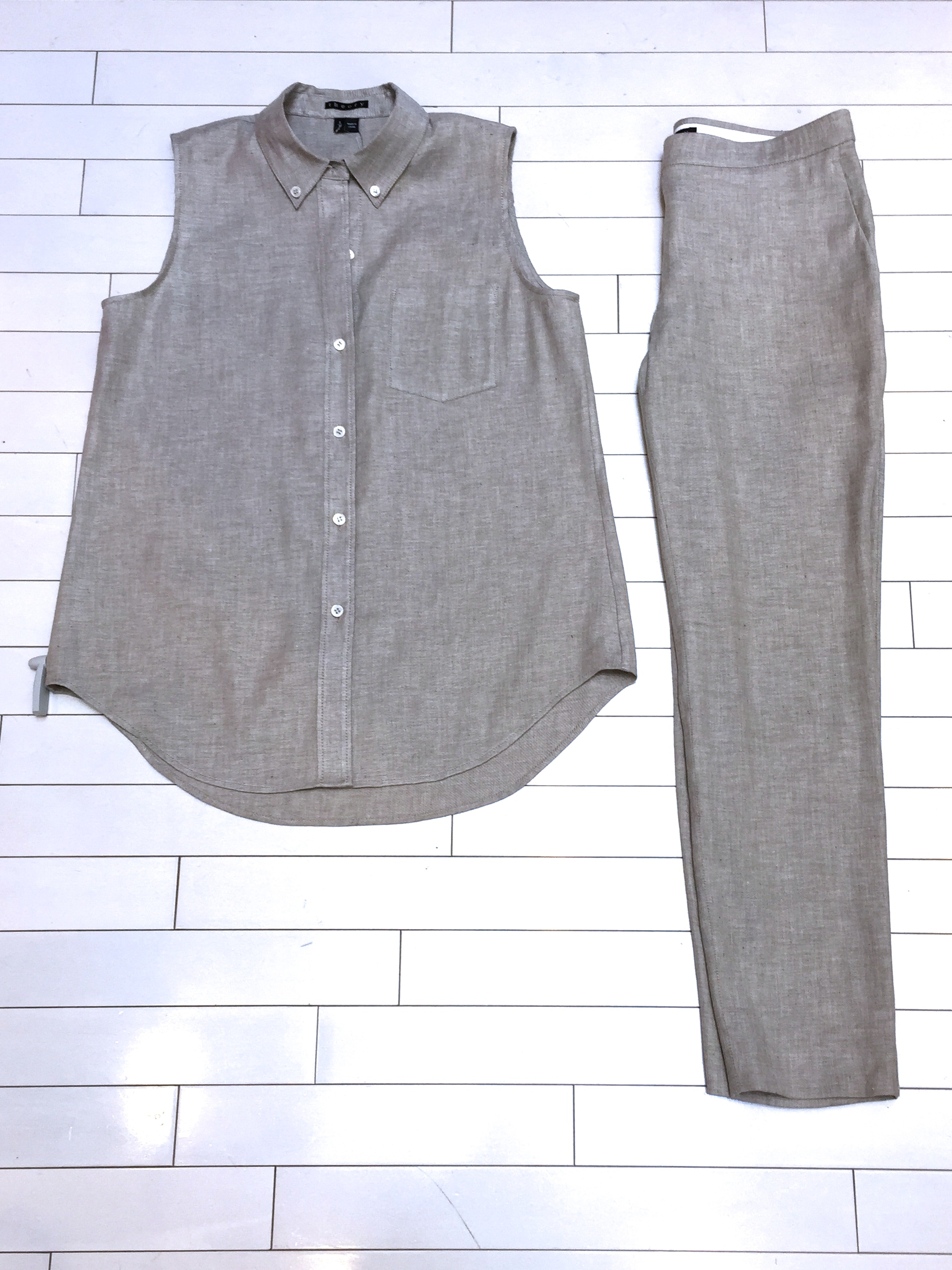 Theory Yarine Shirt and Thaniel Pant