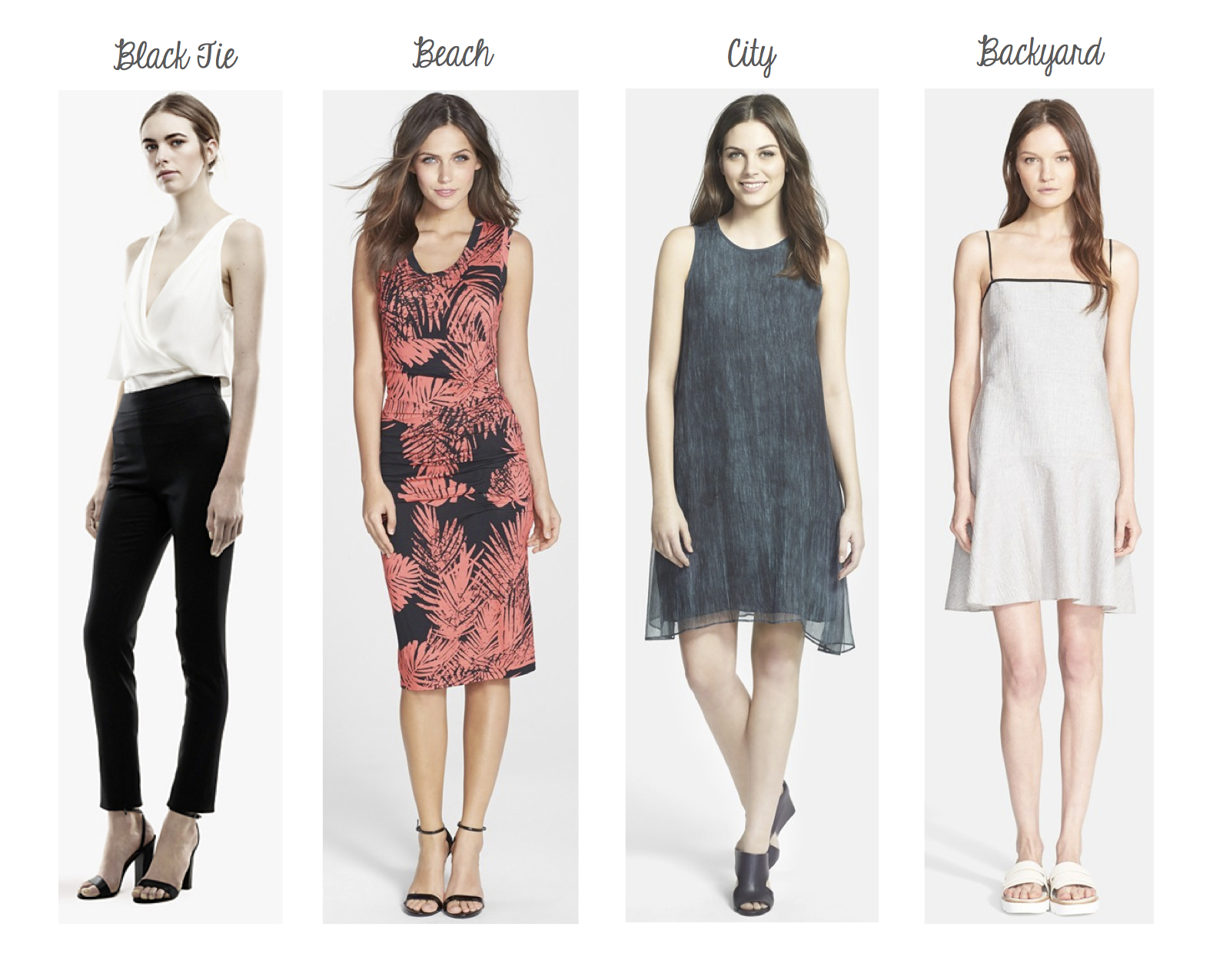 Theory Alizay Top and Testra Pant, Nicole Miller Dakota Dress, Eileen Fisher Crinkle Chiffon Dress, Rag & Bone Dune Dress