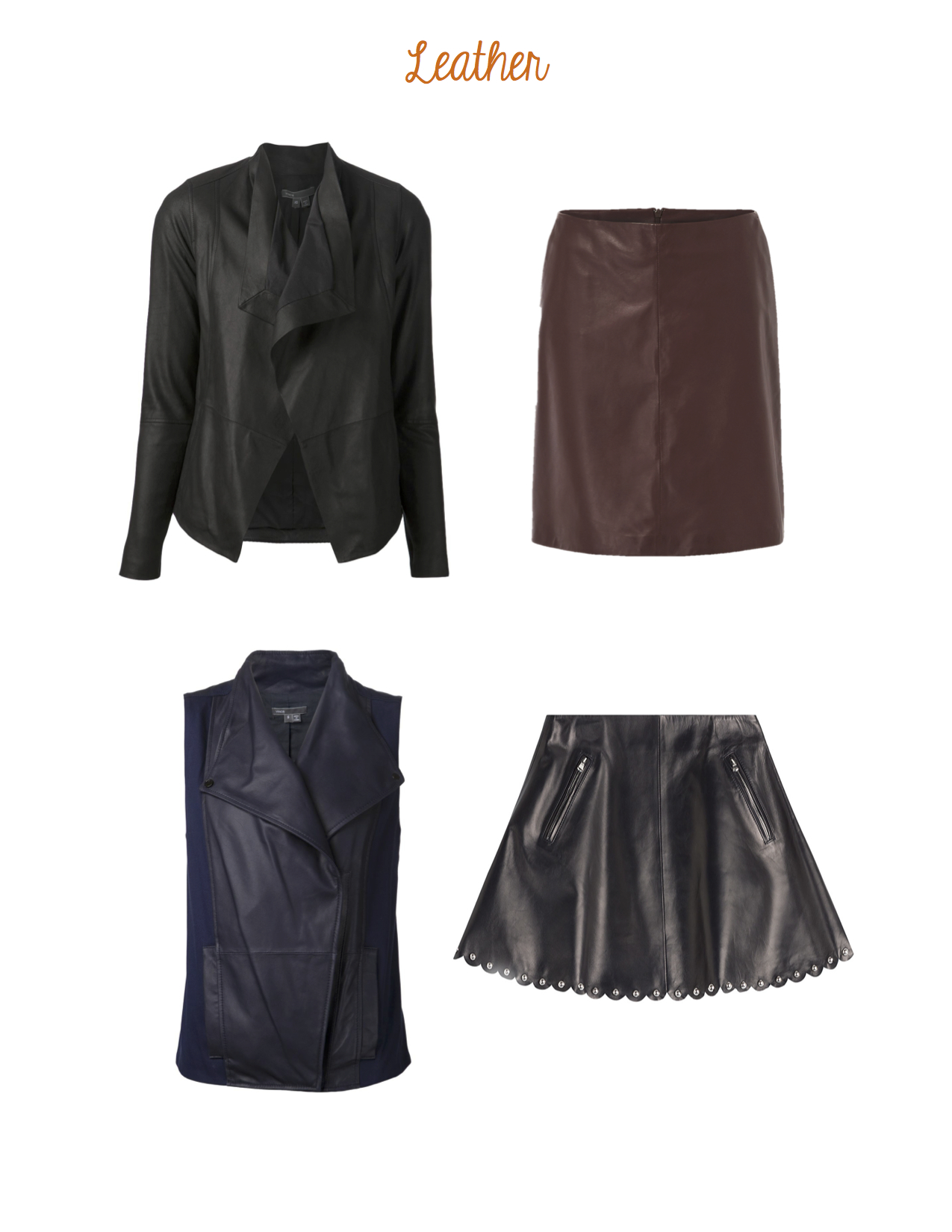 Clockwise from top left: Vince Scuba Leather Jacket, Weekend Max Mara Cosa Skirt, Red Valentino Pele Skirt,  Vince Leather Asymmetrical Vest.