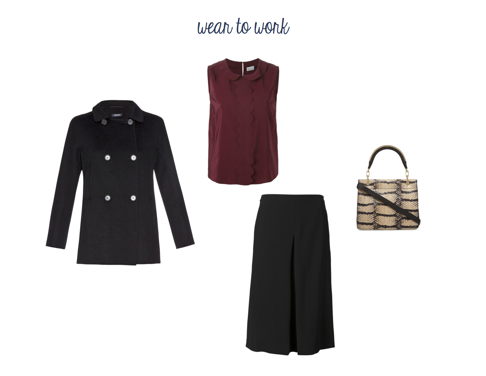 From Left to Right: Max Mara Lettera Jacket, RED Valentino Scalloped Silk Top, Vince Culottes and Max Mara Leda Bag.
