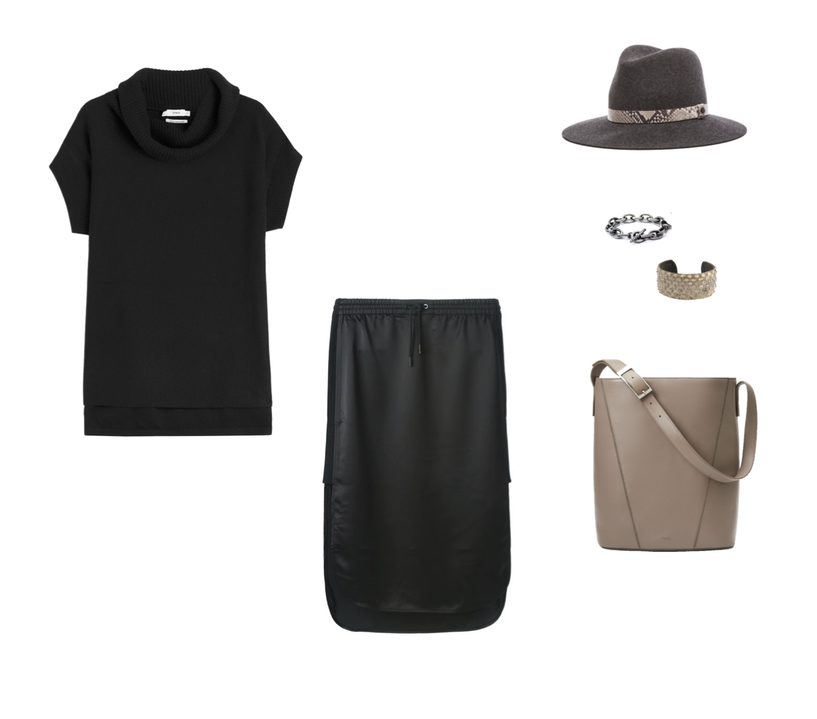 Vince Cashmere Cowl Neck Pull-Over, T by Alexander Wang Satin Skirt, Rag & Bone Floppy Brim Fedora, Rene Escobar Chain Link Bracelet, CLP Metallic Snakeskin Cuff and Vince Signature V Modern Bucket Bag.