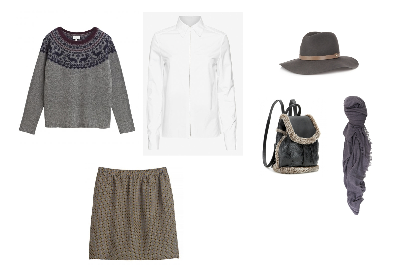 Hartford Meribel Sweater, Rag & Bone Frances Shirt, Hartford Jani Skirt, Rag & Bone Wide Brim Fedora and Mini Pilot Shearling Backpack, Grisal Scarf