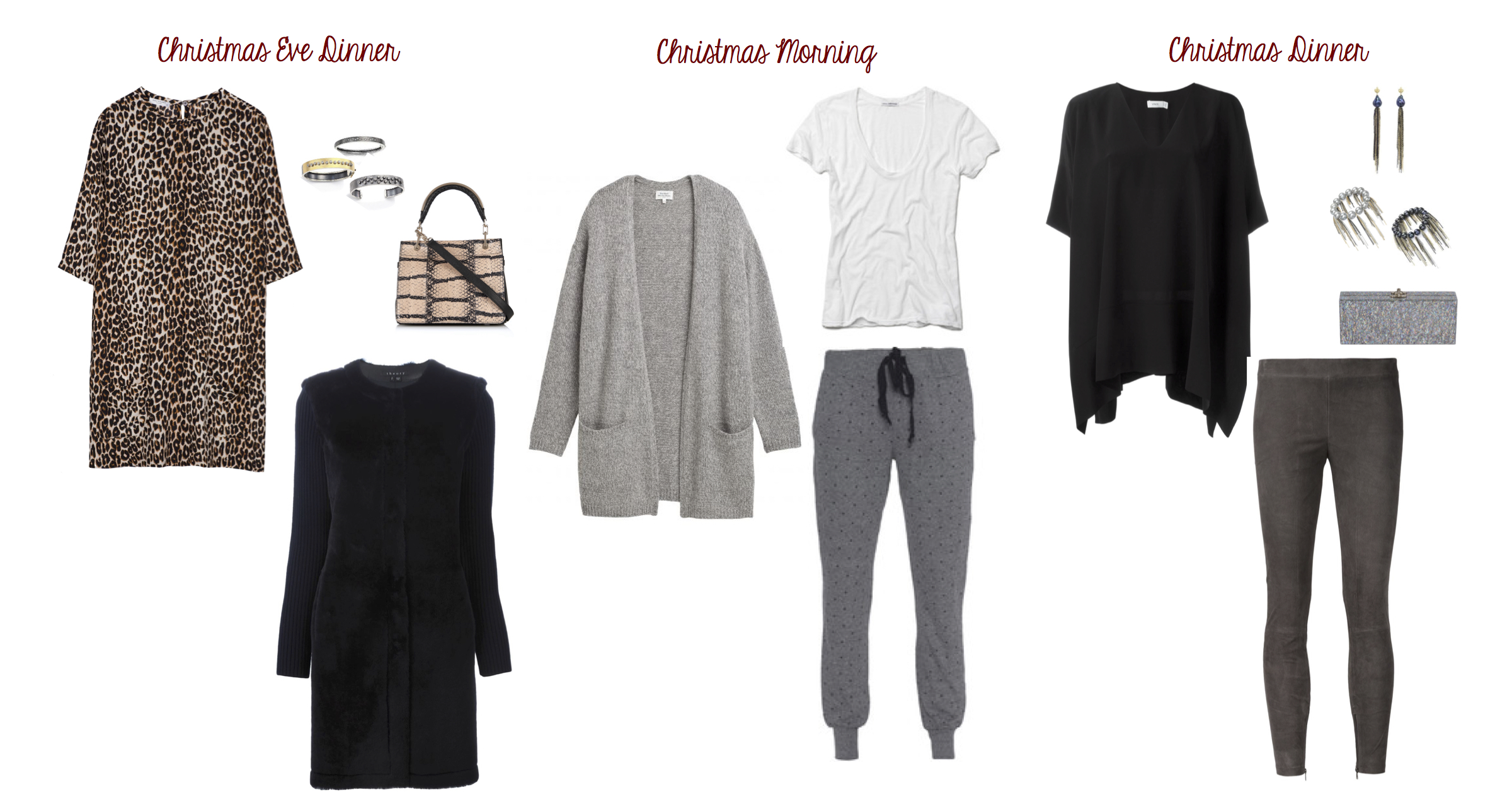 From L to R: Equipment dress, Rene Escobar bangles, Max Mara purse, Theory shearling jacket, Hartford sweater, James Perse tee, Current/Elliott sweats, Vince silk top and suede leggings, Samira 13 earrings and bangles and Ashlyn'd lucite clutch.