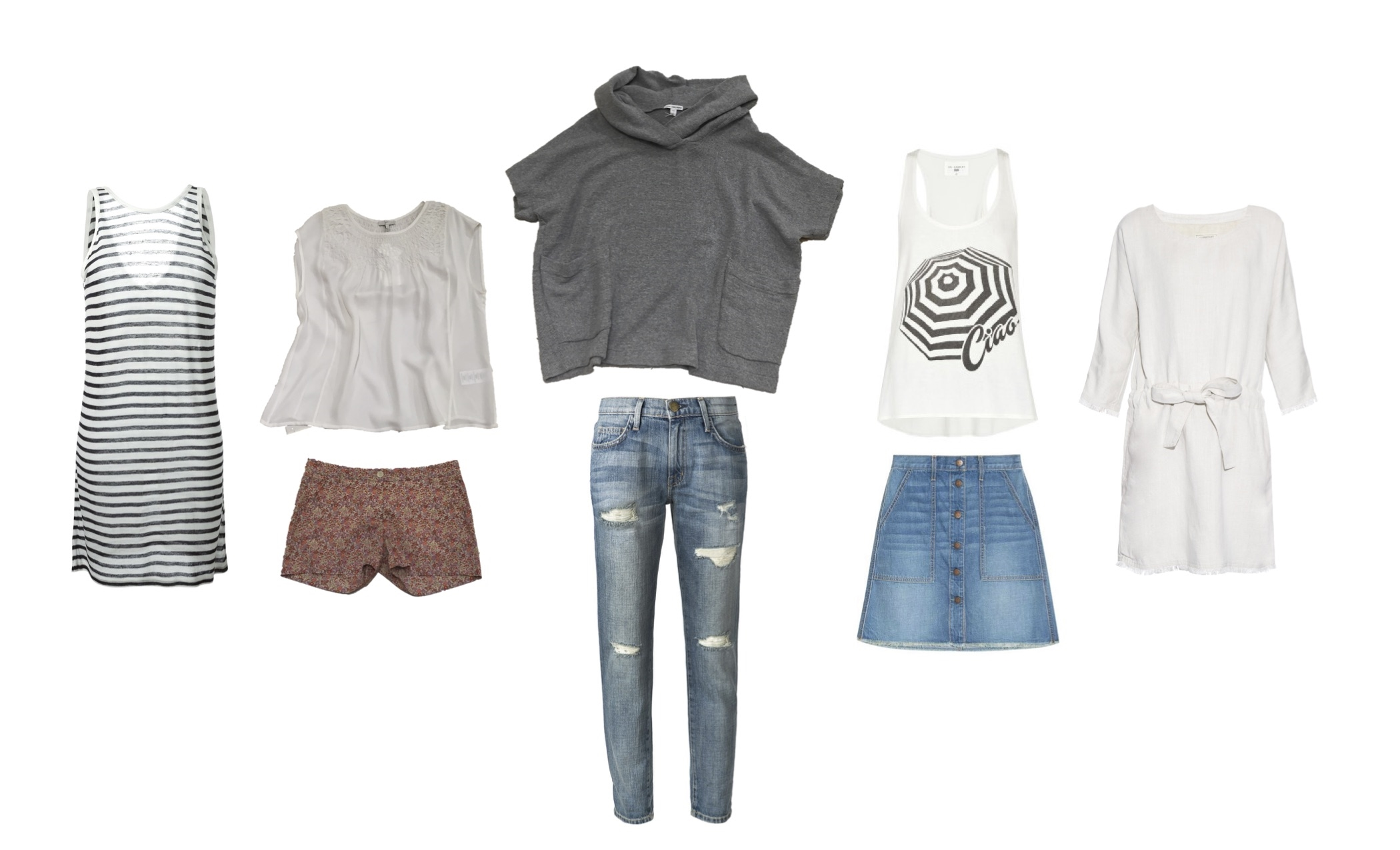 "From L to R: T by Alexander Wang reversible jersey dress, Joie ""Knapp"" silk blouse, Hartford Liberty print shorts, James Perse mesh hooded pull-over, AG Jeans, Sol Angeles ""Ciao"" tank, Current/Elliott ""Navy"" skirt and ""The Cinched"" dress."