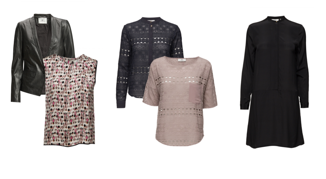 From L to R: leather blazer, print silk shell, eyelet popover, eyelet t-shirt with pocket and silk shirt dress.