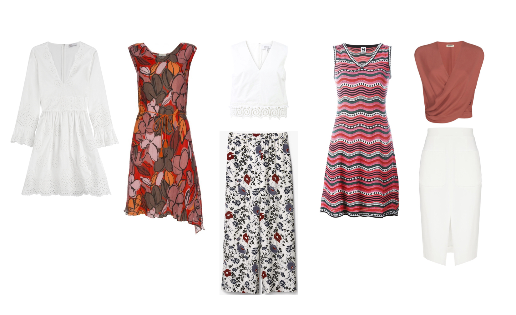 """From L to R: Red Valentino cotton eyelet lace dress, Paul Smith cotton dress, Derek Lam 10 Crosby cotton top with lace trim, Theory """"Raoka"""" floral print pants, M Missoni dress, L'Agence """"T Lee"""" silk blouse and """"Mackenzie"""" skirt."""