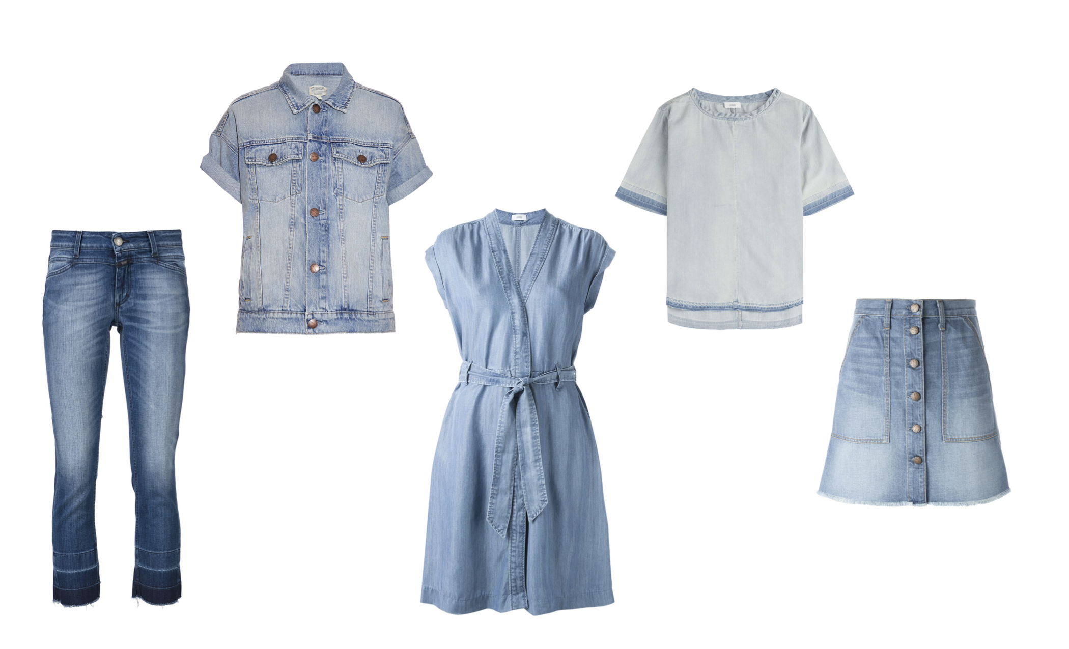 """From L to R: Closed """"Starlet"""" jean, Current/Elliott trucker jacket with rolled sleeves, Closed wrap dress and released hem top & Current/Elliott """"Naval"""" skirt."""