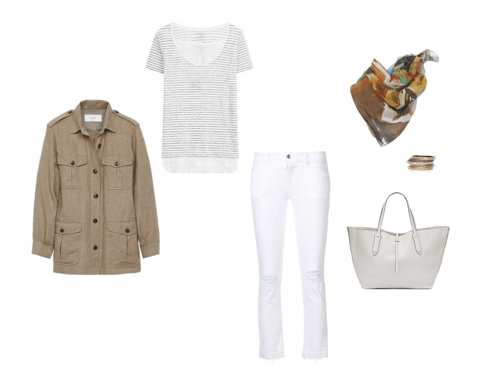 "Closed linen field jacket, Majestic double layer linen tee, Closed ""Starlet"" jeans, G. Kero ""Magic Lion"" cotton scarf, Rene Escobar bangles & Annabel Ingall ""Isabella"" tote"