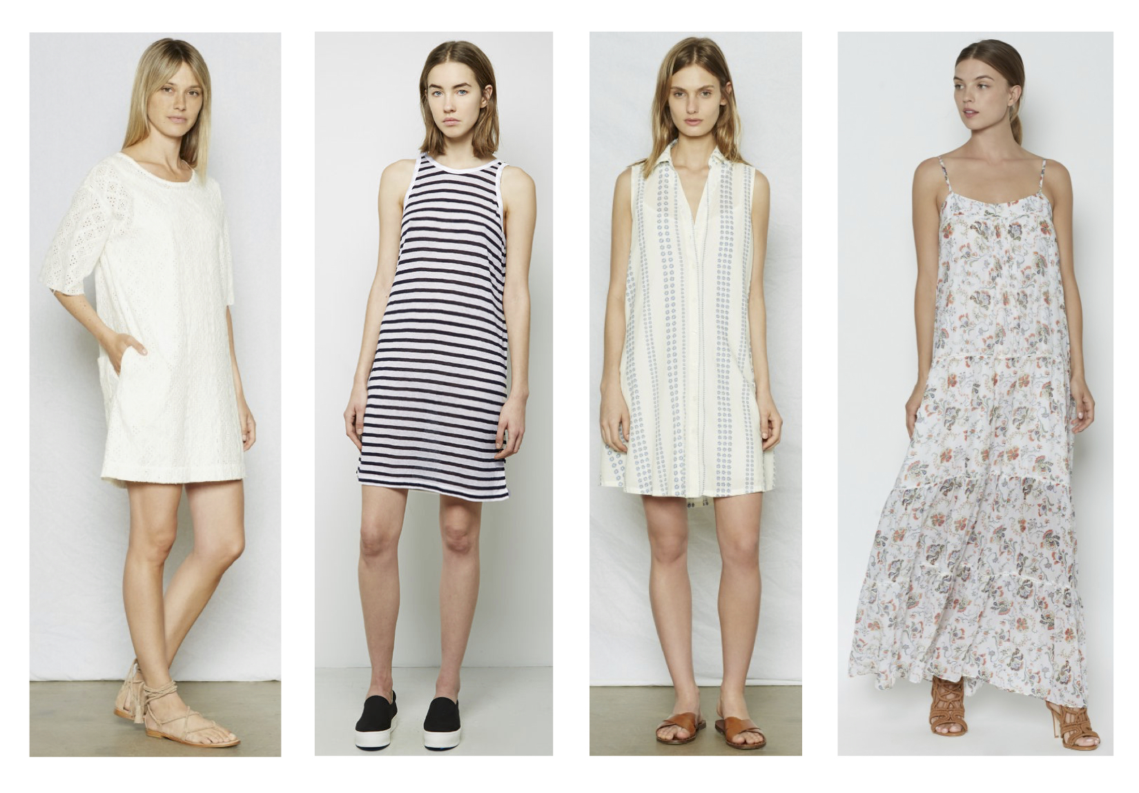 "From L to R; Current/Elliott eyelet t-shirt dress, T by Alexander Wang striped linen tank dress, Current/Elliott ""The Sleeveless Jane"" dress & Joie ""Brisbane"" maxi dress"