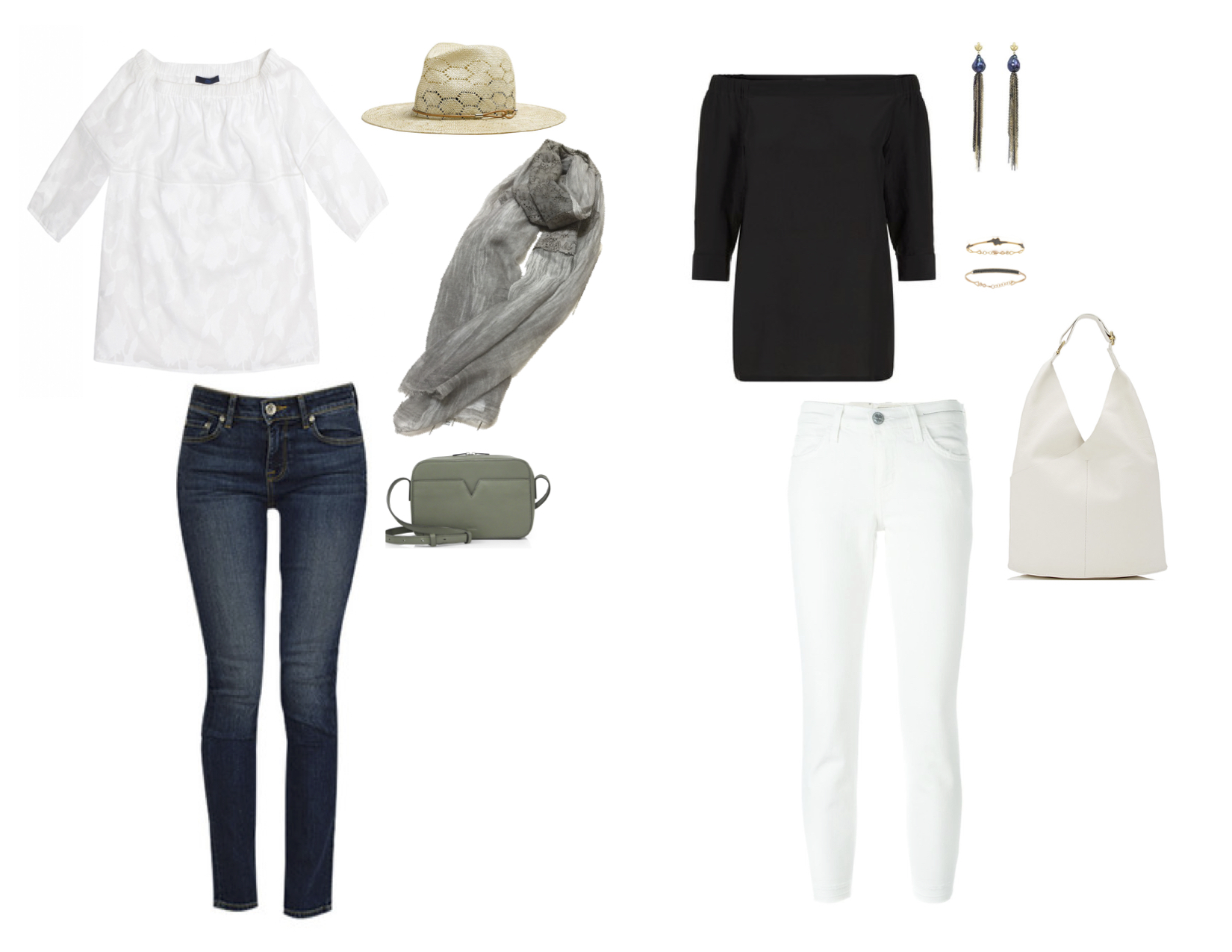 "From L to R: Blue Les Copains gauze top, Strom ""Fyra"" straight leg crop jean, Rag & Bone straw wide brim fedora, Cutuli Cult suede scarf, Vince ""Signature V"" cross-body, Theory ""Joscla"" top, Current/Elliott stiletto jean, Samira 13 Tahitian pearl and fringe earrings, Kismet by Milka black diamond and 14k gold bangles & ALC ""Sadie"" hobo."