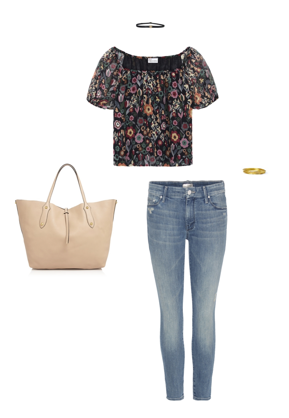 "From L to R: Annabel Ingall leather tote bag, Shay single starburst choker, Red Valentino floral print chiffon top, Mother Denim ""Looker"" crop jean & Sara Weinstock 18k gold and diamond bangles."