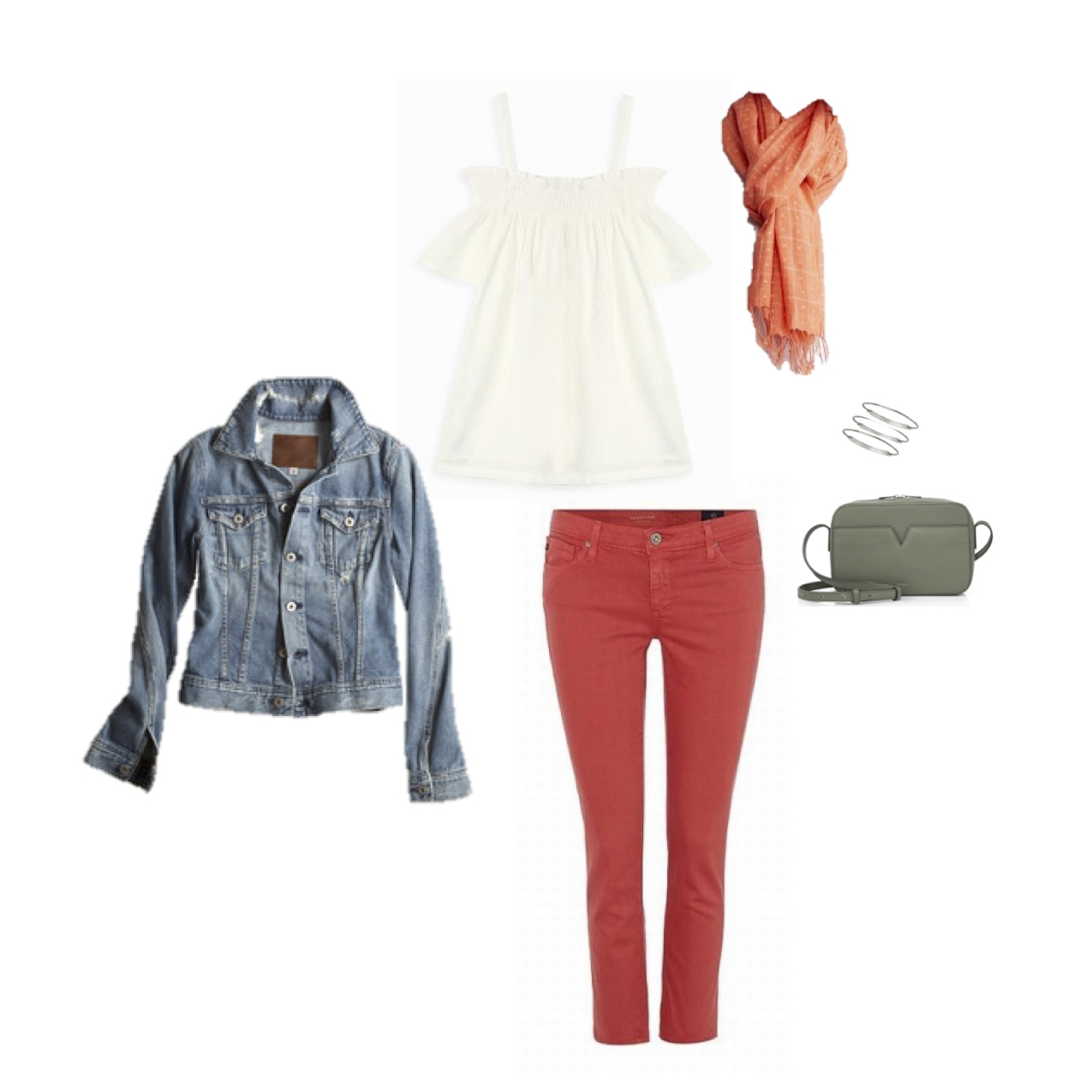 """AG """"Robyn"""" jacket, Current/Elliott """"Madeline"""" top, AG """"Stiletto"""" crop jean, Eileen Fisher cotton scarf, Loren Stewart sterling silver ID bracelets & Vince Signature small leather camera bag."""