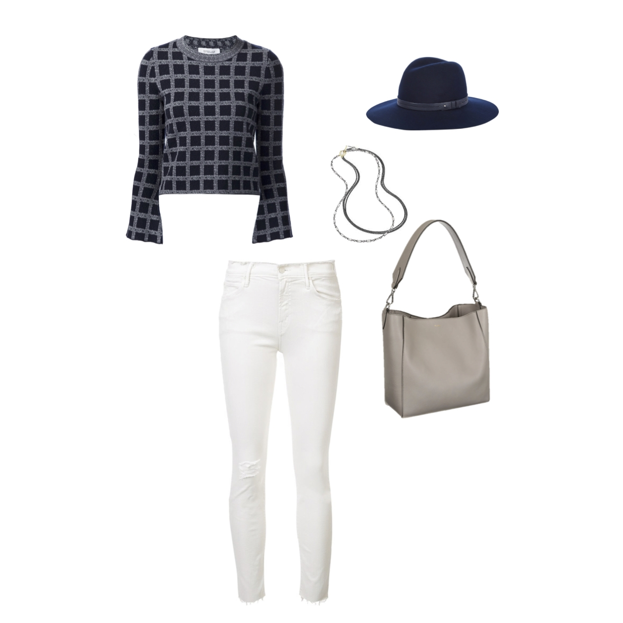 "From R to L: Derek Lam 10 Crosby crop sweater, Mother Denim ""Looker"" high rise jeans, Rene Escobar oxidized sterling silver necklaces, Rag & Bone wide brim fedora & Max Mara ""Hobo"" leather bag."