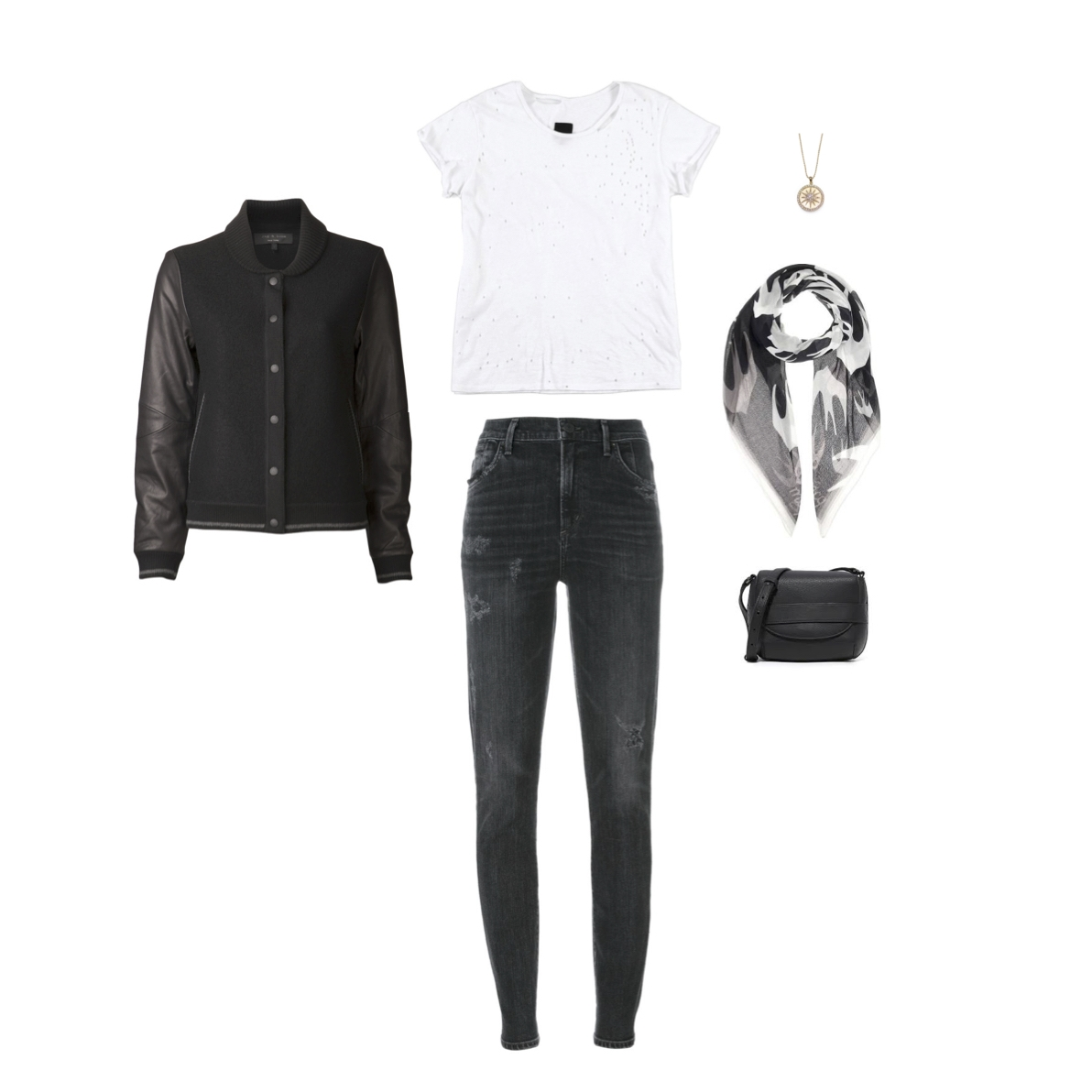 """From L to R: Rag & Bone """"Camden"""" jacket. RtA """"Jewel"""" tee, Citizens of Humanity """"Rocket"""" high-rise skinny jeans, Anzie medallion, McQ cotton scarf & Vince """"Park Collection"""" small cross-body."""