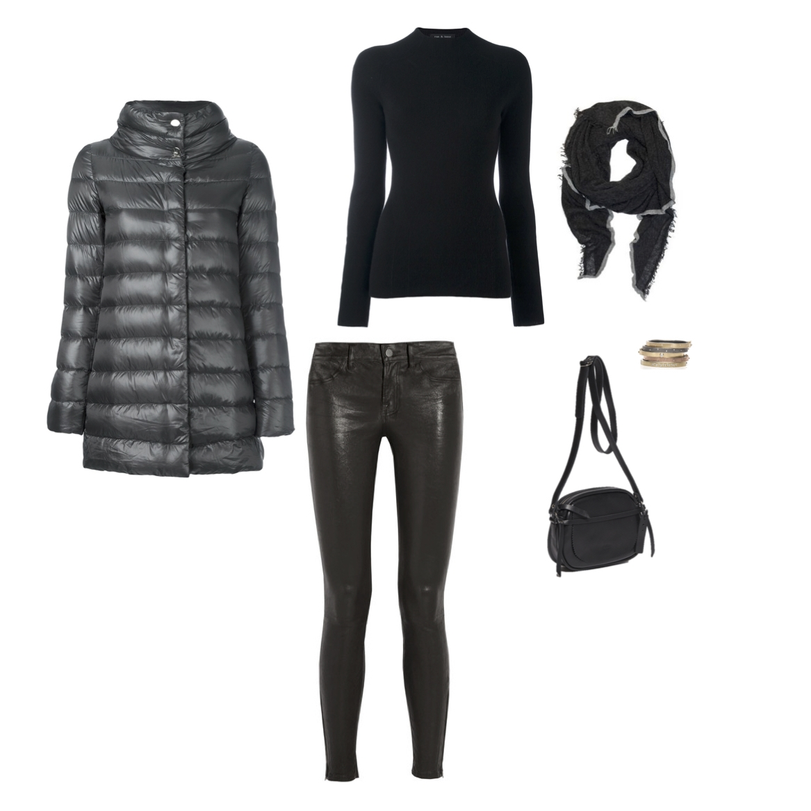 "Herno 3/4 quilted jacket, J Brand leather jean with ankle zip, Rag & Bone ""Natasha"" cashmere sweater, Grisal scarf, Rene Escobar 18k gold and sterling silver bangles with diamonds, Jack Gomme ""Anna"" shoulder bag."