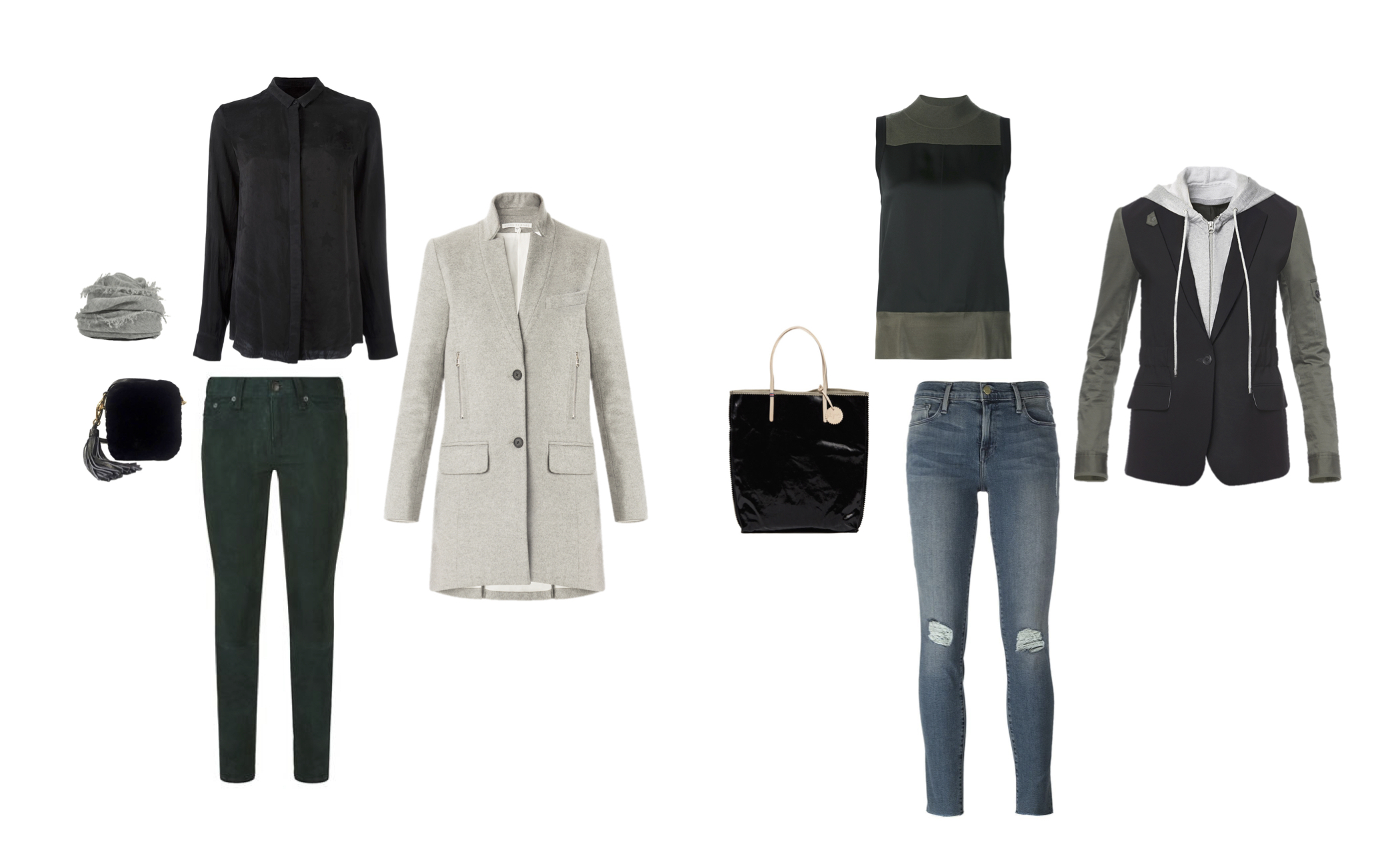 From L to R: Grisal cashmere scarf, Serpui shearling bag, Rag & Bone capri suede jeans, RtA Rita silk shirt, Veronica Beard car coat, Jack Gomme tote bag, Rag & Bone Vivienne top, Frame Denim jeans, Veronica Beard military jacket with dickie.