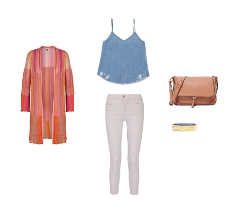 From L to R: M MISSONI MULTICOLOR PLISSE CARDIGAN, RtA LILIAN CAMI, CITIZENS OF HUMANITY ROCKET CROP SKINNY JEANS, ANNABEL INGALL CECE MESSENGER BAG & RENE ESCOBAR WIDE GOLD DIAMOND SPRINKLE BANGLE.