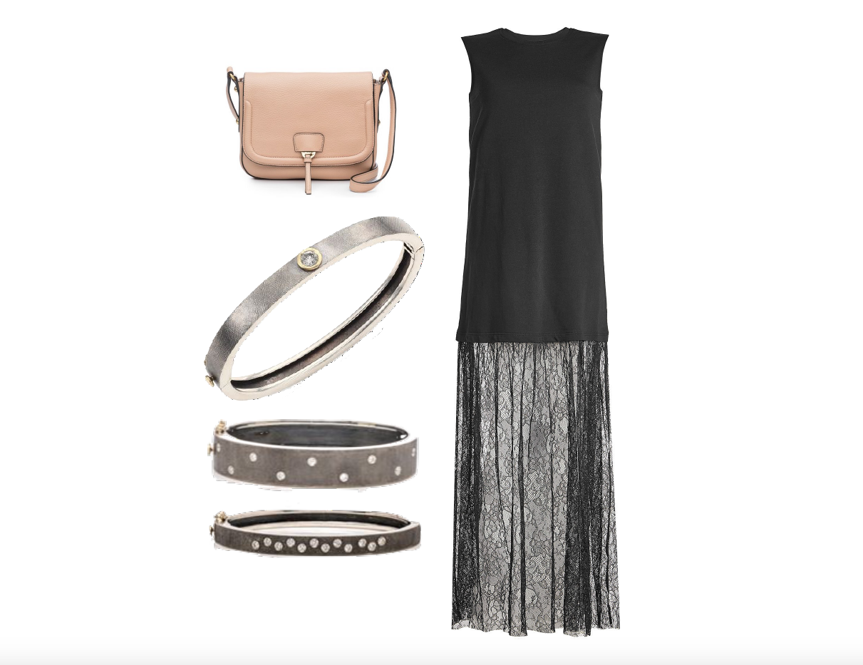 ANNABEL INGALL CAMILLE SADDLE BAG, RENE ESCOBAR SILVER BANGLES & MCQ COTTON DRESS WITH LACE