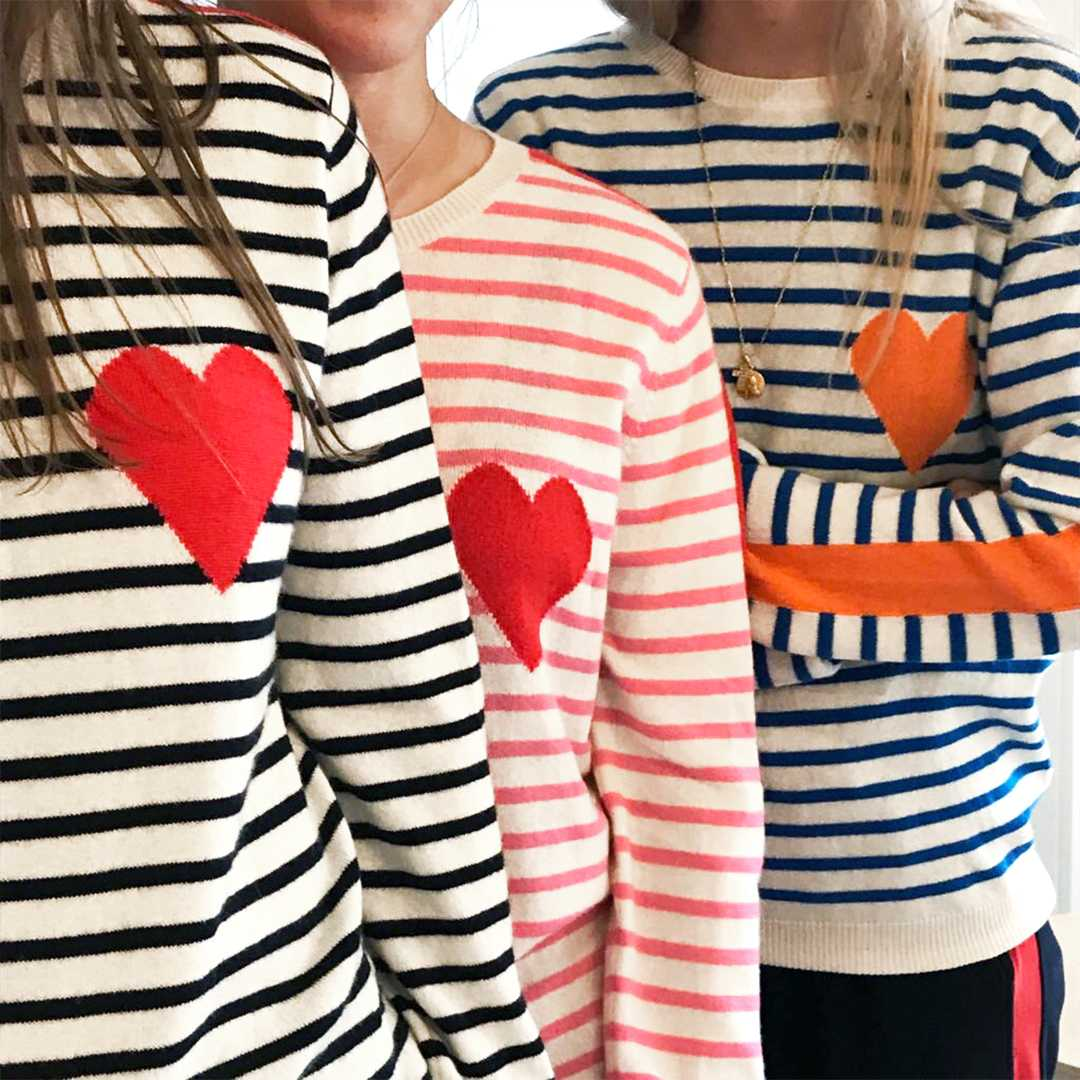 CHINTI + PARKER STRIPE SLEEVE HEART SWEATER