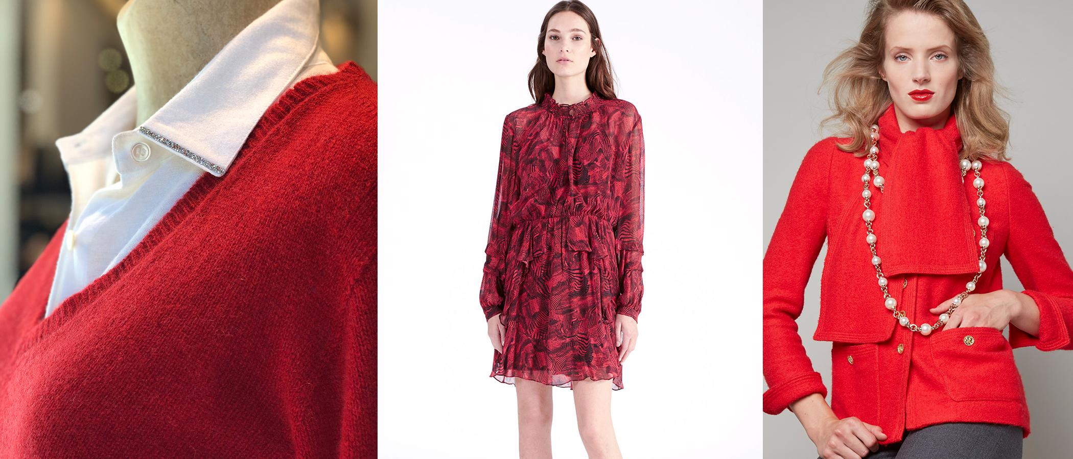 (L to R: Majestic Cashmere V-Neck Sweater, IRO Dress, Edward Achour Paris Crew Jacket)