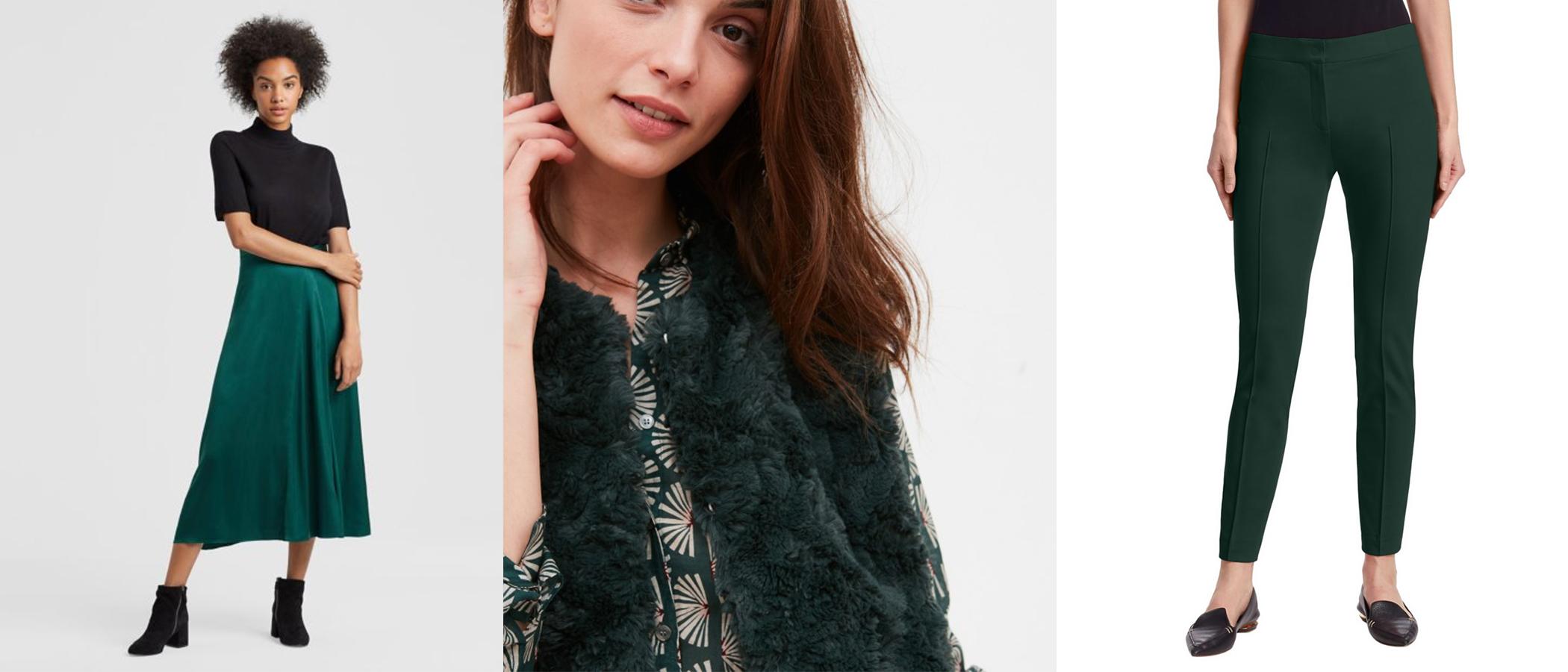 (L to R: Eileen Fisher Silk Skirt, Hartford Faux Fur Vest, Akris Punto Mara Pant)