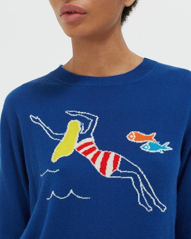 Dive right into summer!☀️🧜🏼♀️🌊 Shop our newest shipment of summer sweaters from @chintiandparker #summerstyle #newarrivals