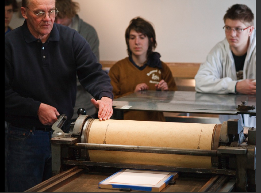 Harry Reese is Professor of Art at the University of California, Santa Barbara, where he teaches book arts, printmaking, papermaking, and media ecology.