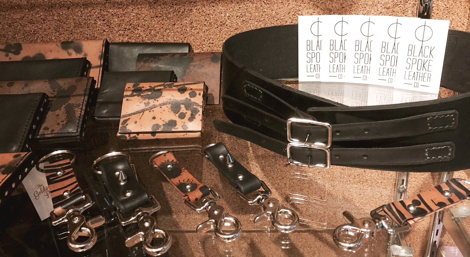 Display of Black Spoke Leather Co. goods at The Golden Pearl Vintage