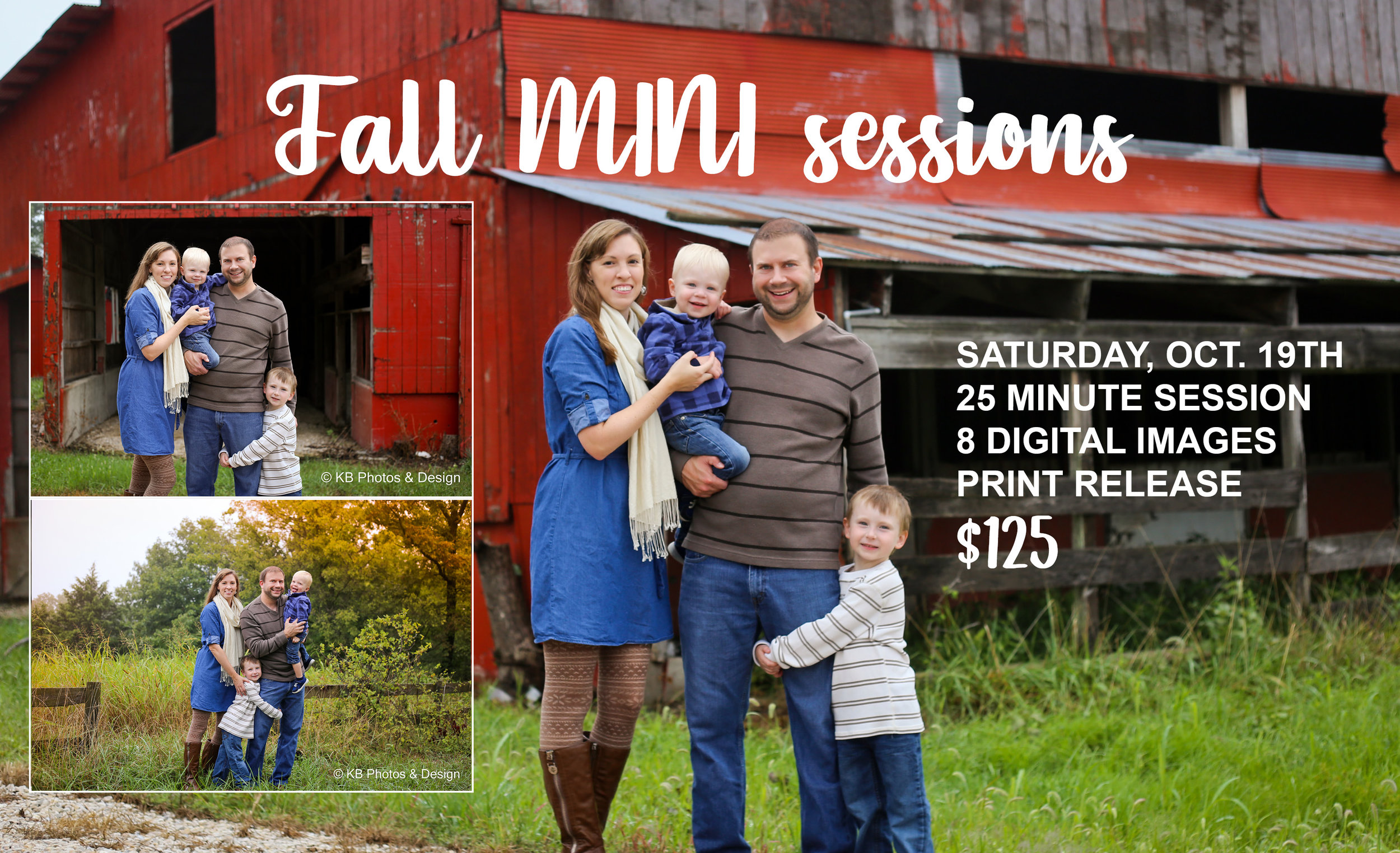 Cooler weather. Pumpkin spice everywhere. You know what that means…FALL! And with fall comes a perfect time to update your family photos!  Fall MINI photo sessions are Saturday, October 19th at a gorgeous red barn location in Lake Ozark, MO. I love this location for its versatility - rustic barn, fall leaves on trees, pretty grasses and wooden fence. This spot would also make for a great backdrop for some Christmas card photos.   Sessions are 25 minutes in length - $125 - and come with 8 digital edited images and a print release. I have limited spots available in the morning and afternoon, so be sure to  book your spot today!