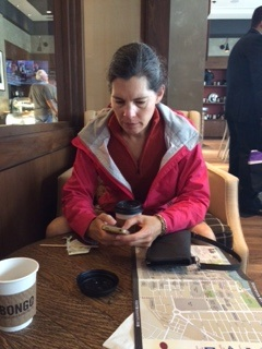 Here I am, checking my Chicago Marathon app.