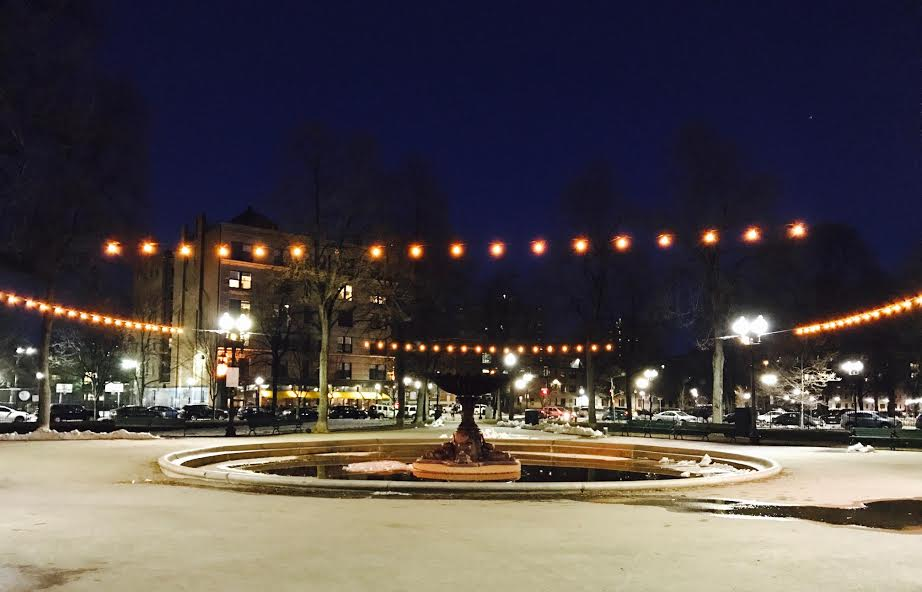 """""""Lights On The Square"""" by artist Ethan Vogt was the first of two light installations in the parks."""