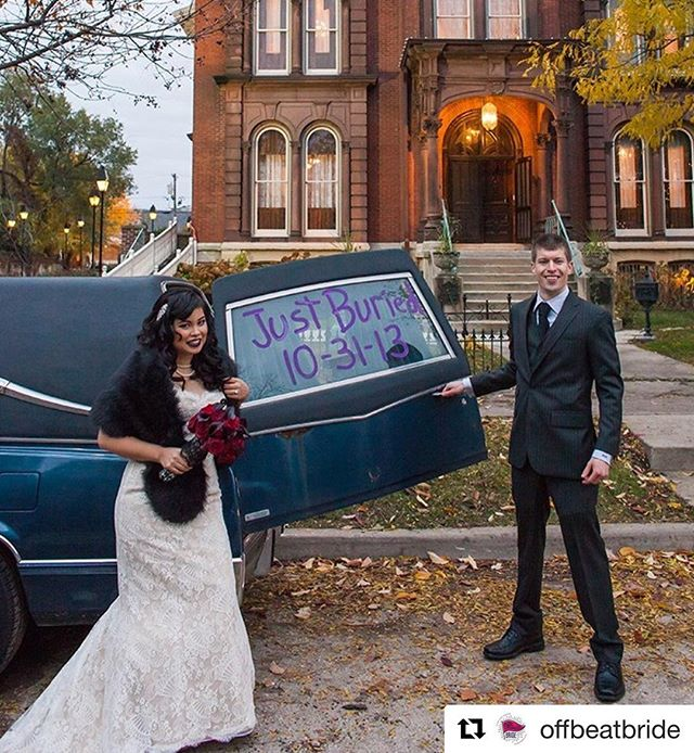 Still one of my favorite shots- love these two incredible humans! So cool to see it on @offbeatbride -  #Repost @offbeatbride ・・・ #JustBuried in Chicagoland! A nurse married a funeral director at a museum of surgical science. I mean, it makes sense! 💀 On the blog today at offbeatbride.com ・・・ Bride: @autopzee Photos: #SergioSilva Dress: @vanessasmodernbride Hair: @suzygalazkahair Makeup: @watersignhell Ceremony venue: @surgicalmuseumchicago Reception venue: @jhmansion Dessert: @westtownbakery ・・・ #halloweenwedding #halloweenweddings #goth #illinoiswedding #chicagolandwedding #jolietwedding #jusmarried #halloween #hair #bridalhair #weddinghair #museumofsurgicalscience