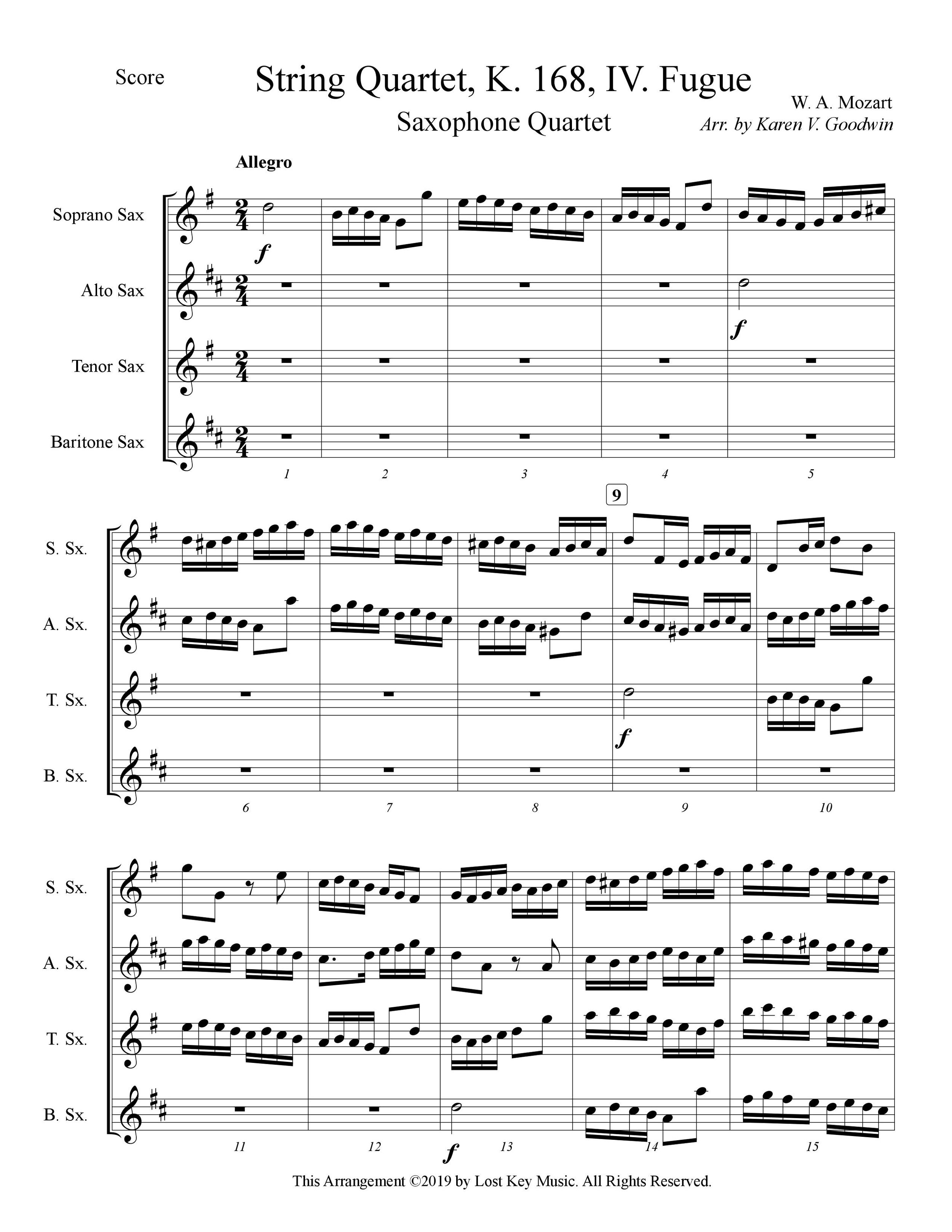 Mozart String Quartet, K. 168, IV. Fugue-Saxophone Quartet-Score Sample.jpg
