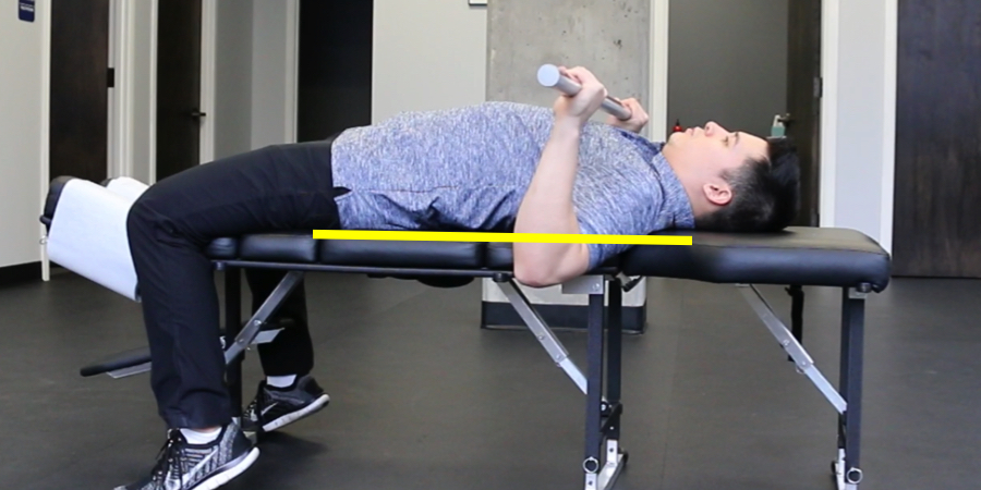 Notice how the elbows go below the torso (yellow line) which stretches the pectoral muscles and forces the head of the humerus forward.