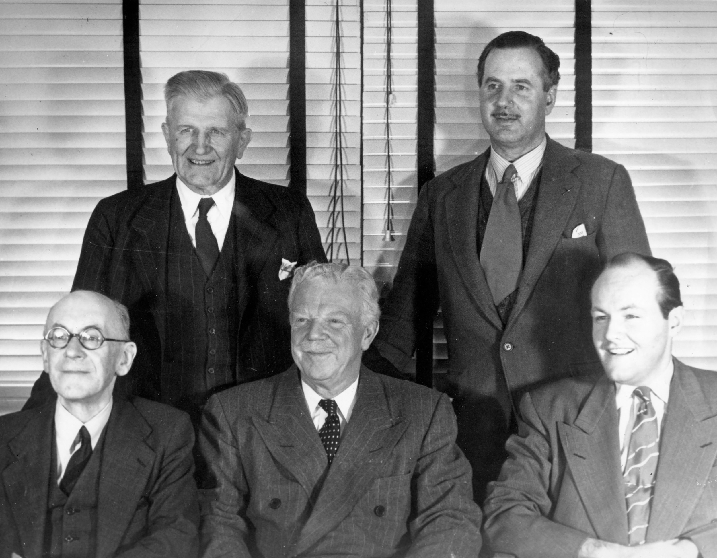 From left to right: Henry Willis III, William E. Zeuch, G. Donald Harrison, Aubrey Thompson-Allen, Joseph Whiteford in the office at the Aeolian-Skinner Company in 1950.