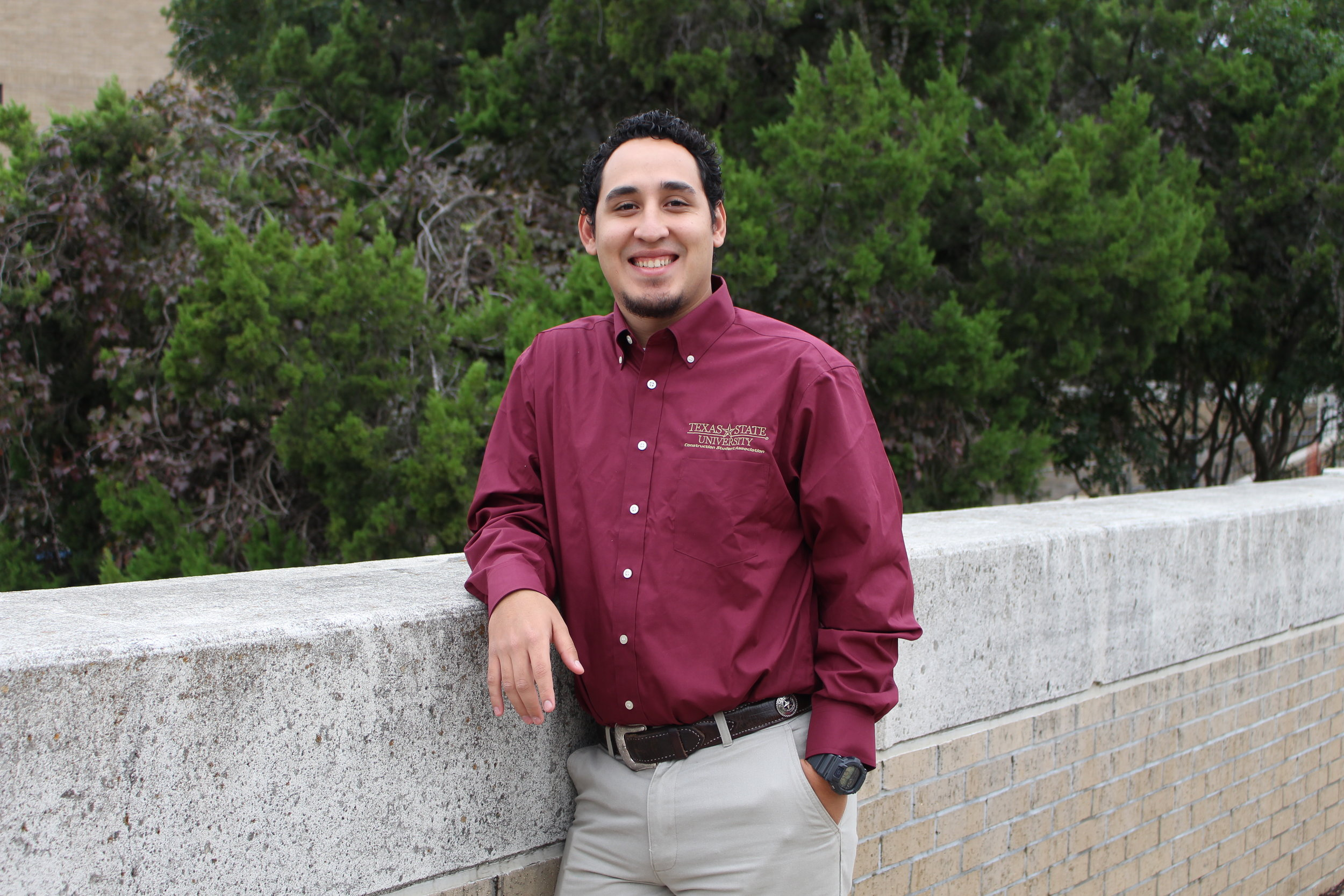 Student Outreach -Rodrigo Valle - Hometown: Houston, TX Graduation: Spring 2020Field of Interest: CommercialPast Experience: 4 years residential remodeling. Summer 2018 Argos US. Internship. Austin Commercial.Tasks: Responsible for reaching out to the community attempting to make the surrounding areas a better place for the less fortunate. On top of that this role also stays involved with social media to let the public know what we have going on.Contact: rdv23@txstate.edu