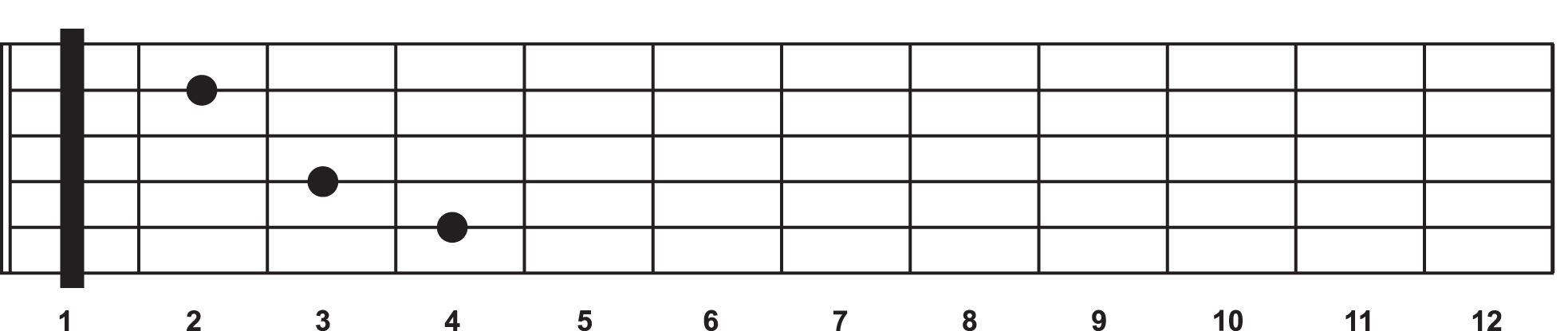 A C chord shape becomes a C Sharp chord when a capo is placed at the 1st fret.