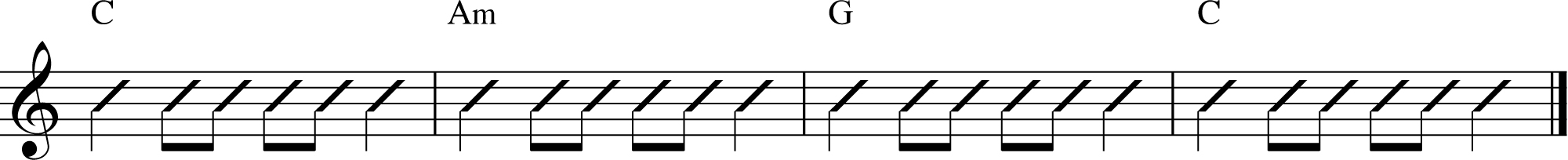 Here is the original chord progression in the key of C.