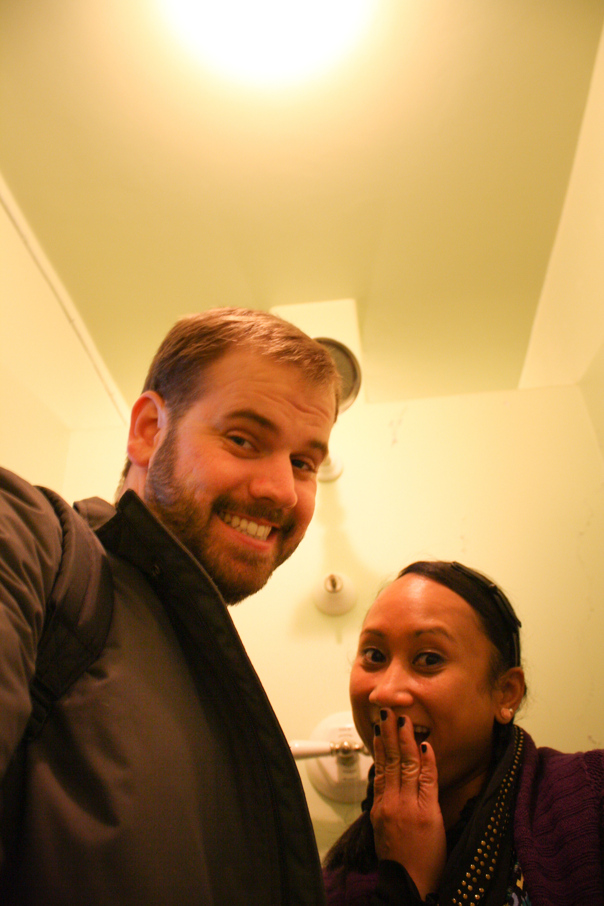 Enjoying ourselves in one of the guest showers. All-right!