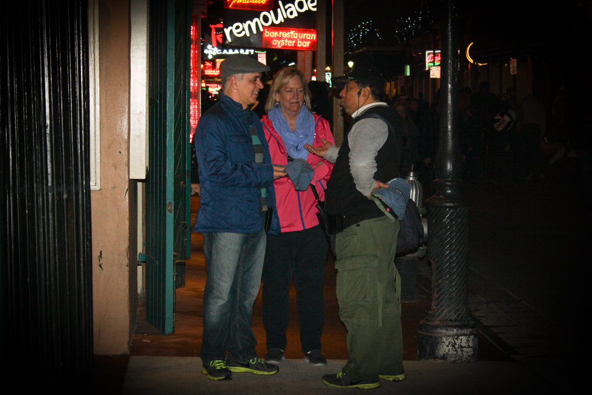 My parents getting stopped by the authoritative hat salesman guy.
