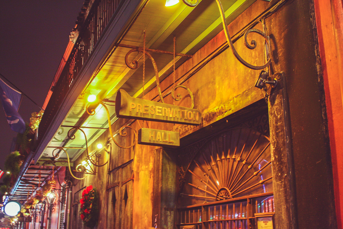 Preservation Hall, featuring nightly Jazz shows.