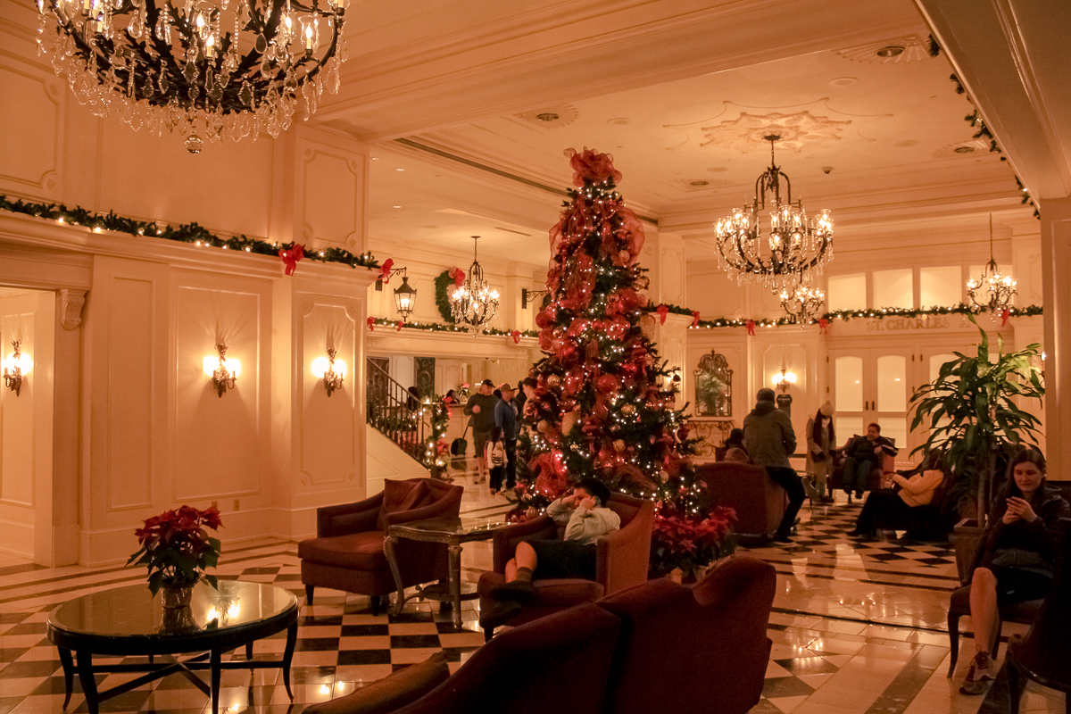 Our hotel, looking all charming and dapper for Christmas.
