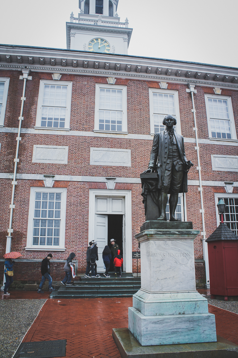 George Washington chilling in front of Independence Hall.