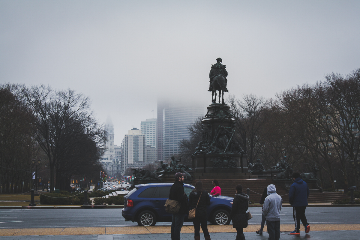 Looking back towards the Benjamin Franklin Parkway.